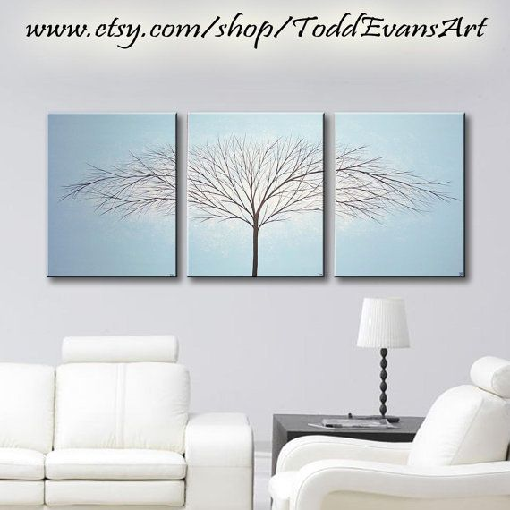 """48"""" x 20"""" Inches, 3 piece set, Large Canvas Art, Baby Blue, Trees, Light Blue, Wall Art, Original, painting, tree art, Large Paintings by ToddEvansArt, $110.00"""