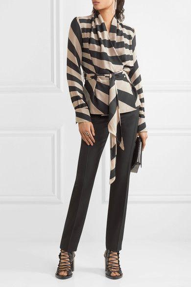 Gareth Pugh - Striped Silk-blend Chiffon Wrap Top - Neutral - IT38