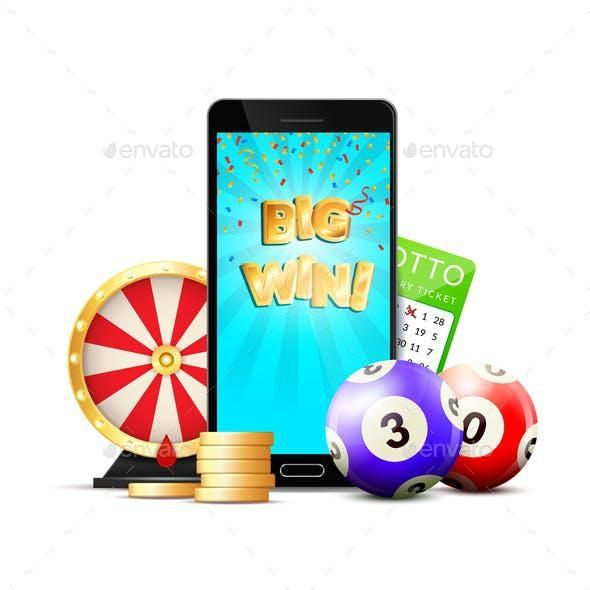 Online Lottery Casino Colorful Composition for $8 #graphicresources #design #VectorGraphics #graphics #vector