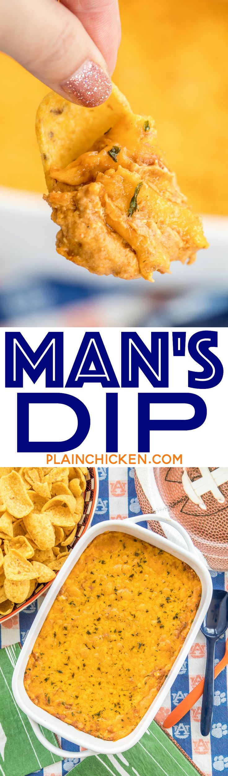 Man's Dip - creamy Mexican bean dip with a kick. Starts with canned bean dip. Add cream cheese, sour cream, taco seasoning, hot sauce and cheese. This was one of the first things to go at our party! Everyone asked for the recipe. #partyfood #beandip #dip