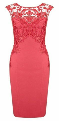 Watermelon Lace Detail Sleeveless Sexy Bodycon Dress