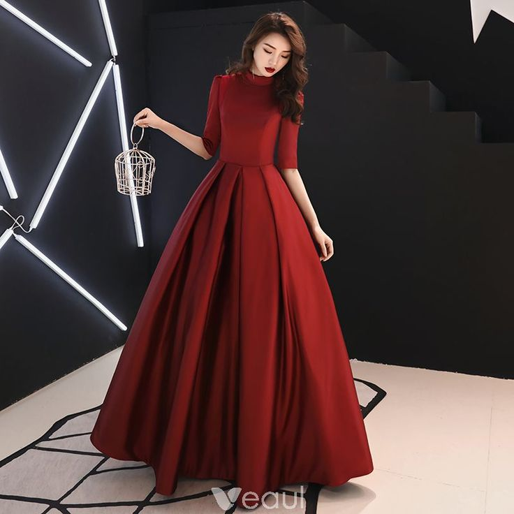 Vintage / Retro Modest / Simple Burgundy Prom Dresses 2019 A-Line / Princess High Neck 1/2 Sleeves Floor-Length / Long Formal Dresses