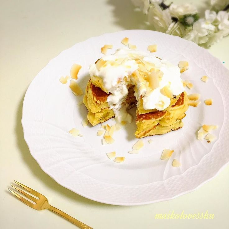 Easy breakfast for my son.  Sweet potatoes and dried grapes pancakes with yogurt and coconuts chips.  サツマイモと干しぶどうのパンケーキ ヘルシーにヨーグルトとココナッツチップスを添えています() こんな感じの朝ごはんもありっ #離乳食 #こどもごはん #pancakesunday #yogurt #幼児食 #coconutchips #startoftheday #kidsmeal #女子力 #toddlerfood #pancakes #foodshare #cutefood #休日の朝 #レシピ #かわいい離乳食部 #ワンプレート #ココナッツチップス #foodie #朝ごはん #breakfast #breakfastrecipe #パンケーキ #朝食 #1歳7ヶ月 #パンケーキ部 #ヨーグルト #パンケーキタワー by maikolovesshu