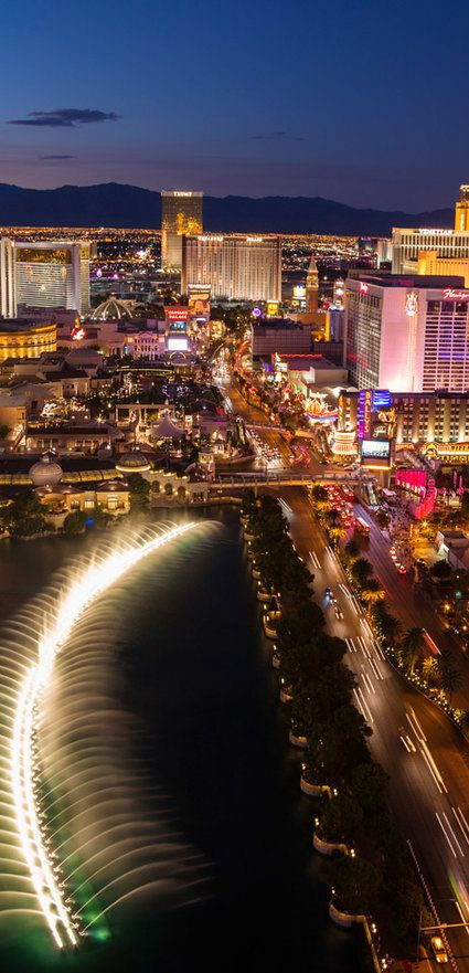 The Fountains of Bellagio, which cost $40 million to build and can be found on the Las Vegas casino's eight-acre lake, comprise a network of 1,200 nozzles, 8,000 meters of pipe and 4,500 lights.  The fountains can shoot water to the height of a 24-story building.  Daily maintenance falls to a team of 30 engineers, all of whom are qualified scuba divers.  The maximum amount of water in the air at any one time is 77,284 liters (20,416 gallons).