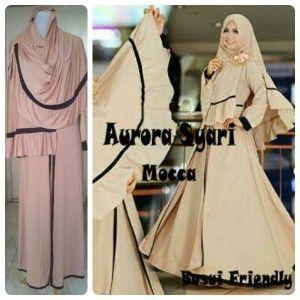3-Model Baju Gamis Muslim Aurora -mocca