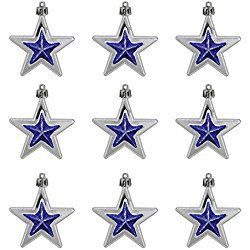 9ct Silver and Blue Glittered Shatterproof Star Christmas Ornaments 2.75""