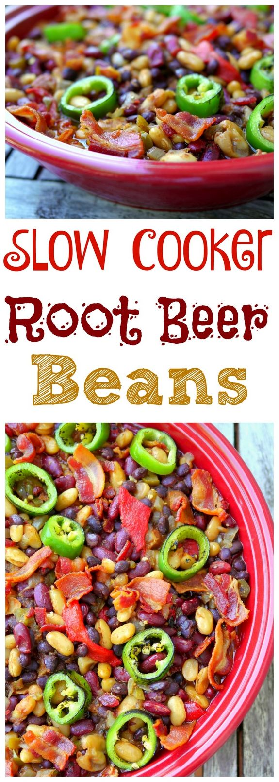 Slow Cooker Root Beer Beans are sweet, tangy and full of spice. Take this easy recipe to your next gathering from NoblePig.com.
