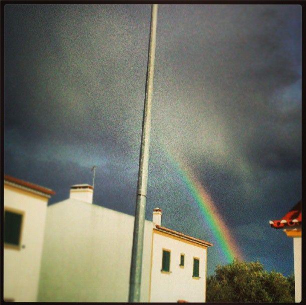 #rainbow #thunderstorm #sky #colors