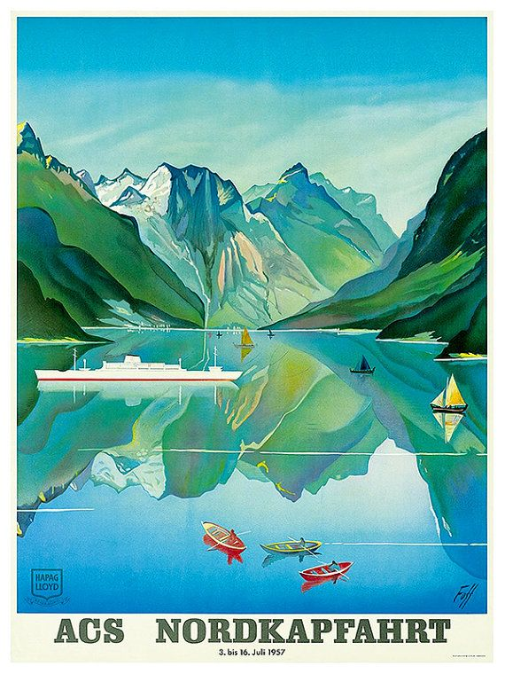 Travel Poster Norway Art Print Vintage Nordic Home by Blivingstons