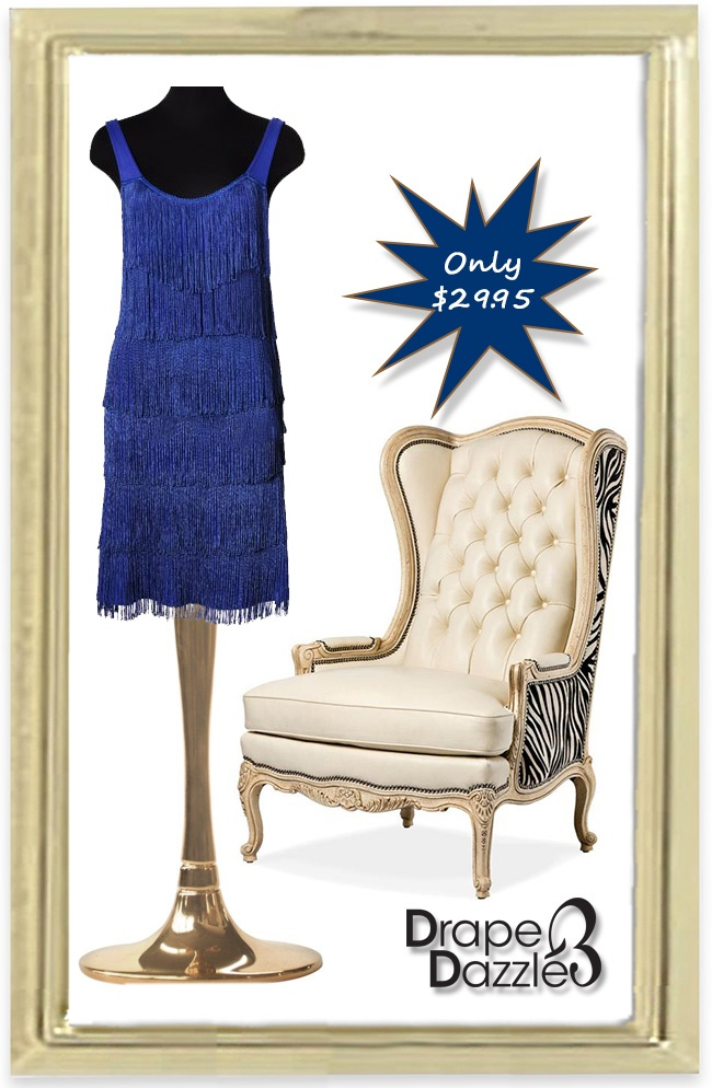 Blue flapper inspired dress.   Size: 10-12  Price: $29.95