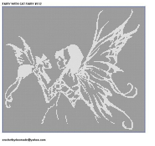 112 Fairy With Cat Fairy Filet Crochet Doily Afghan Pattern