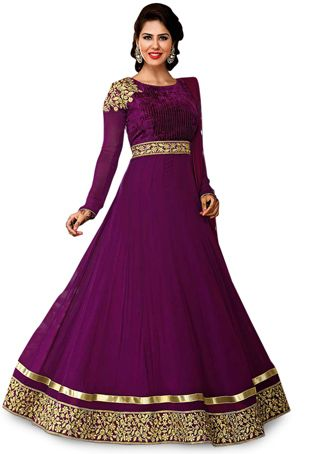 Magenta Faux Satin Chiffon and Velvet Abaya Style Churidar Kameez