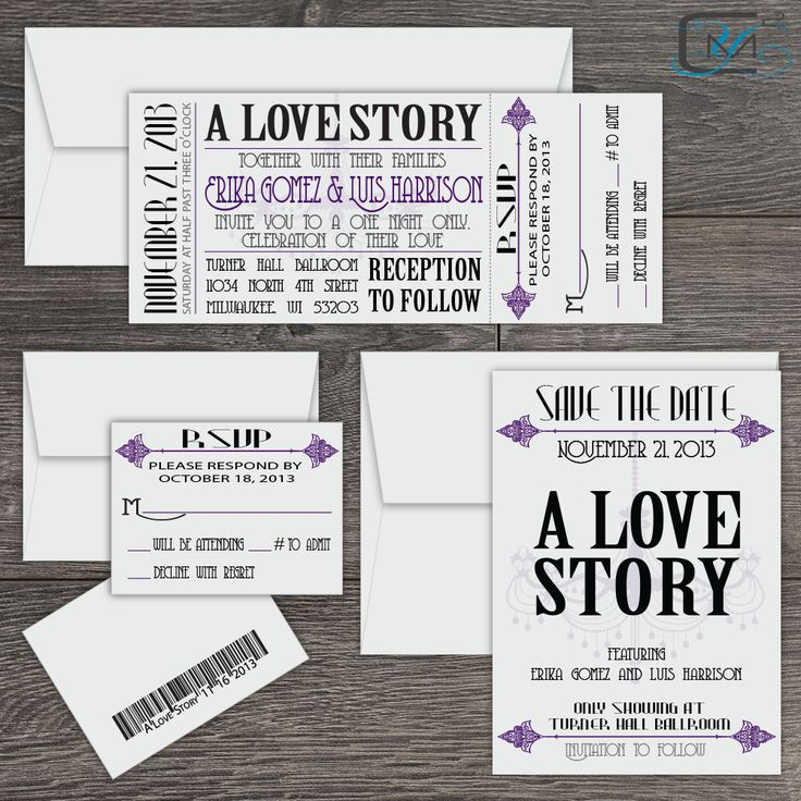 movie ticket stub wedding invitation%0A Vintage Theater Wedding Invitation Collection by C MiamiByYanet