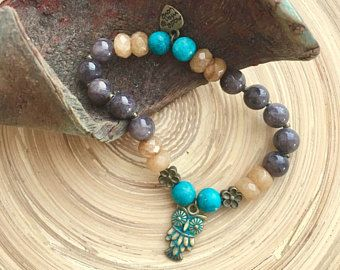 Protective turquoise and grey and yellow jade beaded mala bracelet with an antique owl charm, for yoga gift, meditation, beauty and presents
