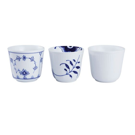 Historical mix - set with 3 termal cups: Blue Fluted, Blue Fluted Mega and White Fluted. Royal Copenhagen, Denmark.