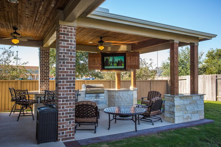 Custom Outdoor Covered Patio Such a unique piece! Tongue and Groove ceiling, custom cabinets to hide the outdoor television, cozy patio furniture, and the best part of all, a built in fire table!!