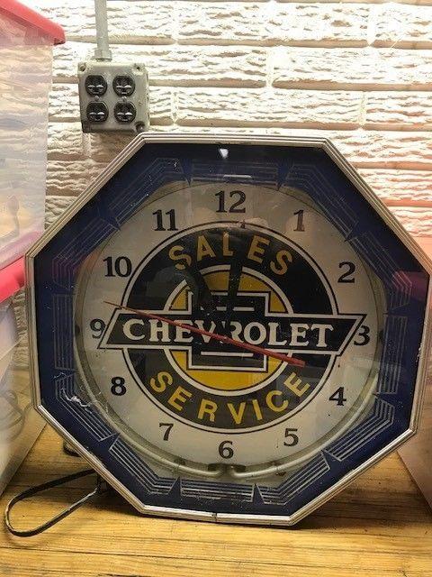 Vintage 1950's Original OctagonNeon Chevrolet Dealership Advertising Clock  | eBay