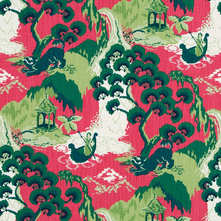 Robert Allen, Dark Green Asian Upholstery Fabric, Pink Green Scenic Curtains Material by yard #RobertAllen