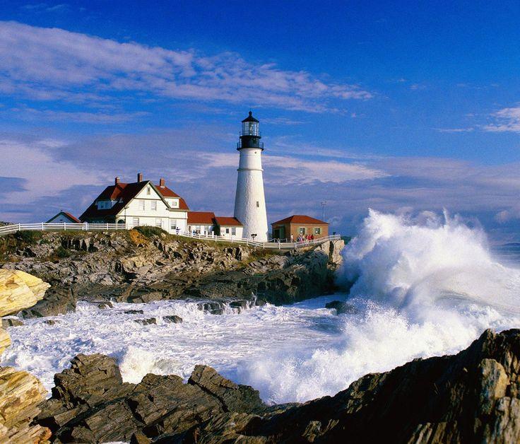 Waves crashing near the lighthouse