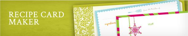 Recipe card maker- this is so easy. Just choose your design, type the recipe and print! And it's free!