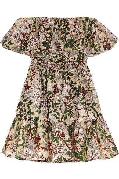 Philosophy di Lorenzo Serafini - Off-the-shoulder Floral-jacquard Mini Dress - Green - IT46