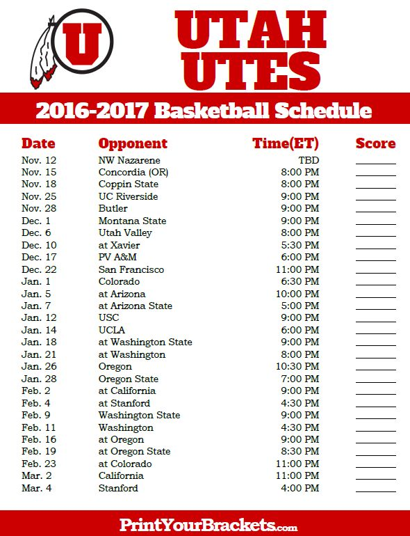 Utah Utes 2016-2017 College Basketball Schedule