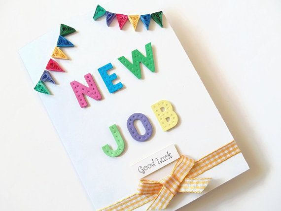 New job card quilled cards quilled new job cards good by KaisCards