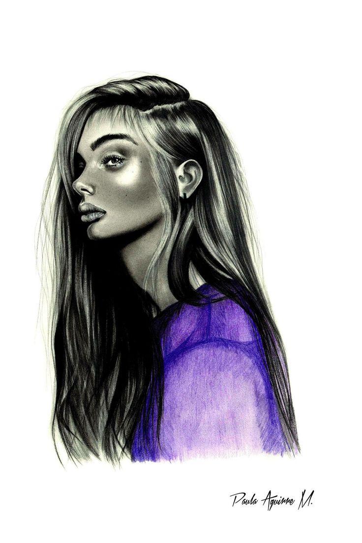 """""""Purple Doll"""" dibujo hecho con grafito y lápices de colores"""