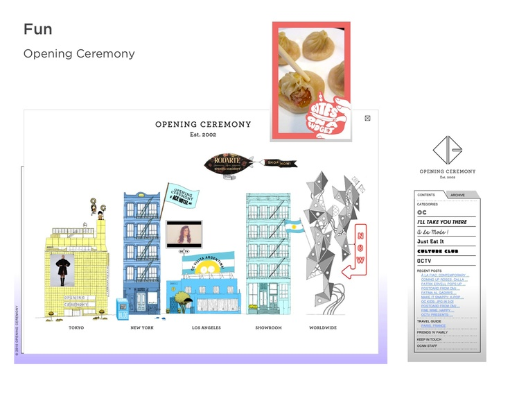 Theme: Unexpected. Opening Ceremony - Store & site experience is cute, quirky, makes you feel like you're part of a carnival.