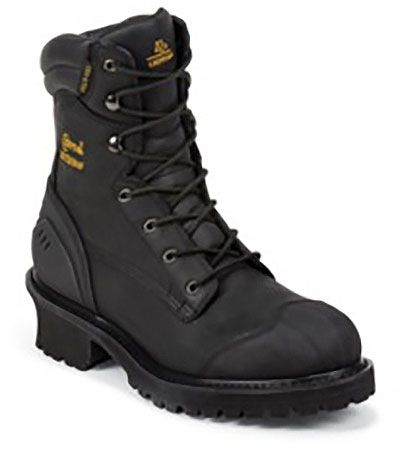 Chippewa Black Oiled Rubber Toe Logger Boot Style 8 Inch Men Boots 55056