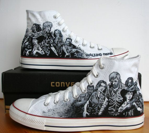 Custom Hand painted adult Converse shoes The Walking Dead