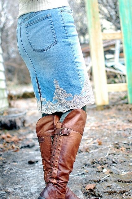 denim skirt with lace by DRAGONFLIES