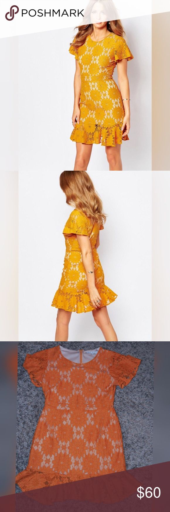 Millie Mackintosh Lace Pep Hem Dress in Mustard Textured floral lace with nude lining. Worn once. Millie Mackintosh Dresses