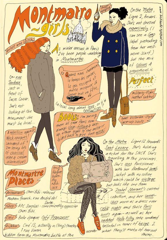 "illustration de mode UK : Badaude (Joanna Walsh), 2011, ""Montmatro girls"", parisiennes, 2010s"