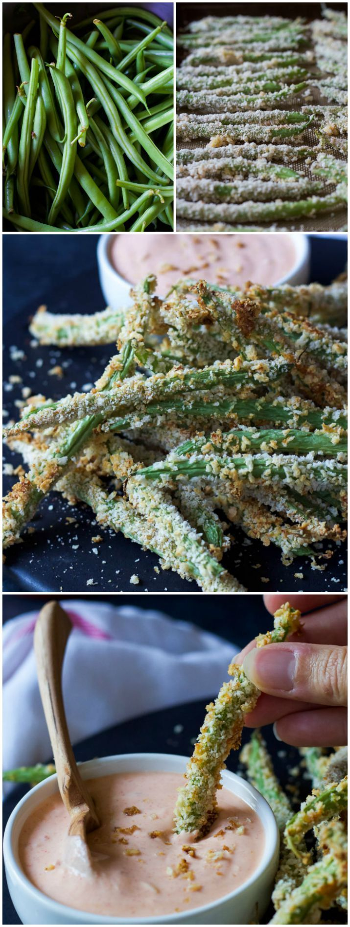 Crispy Baked Green Bean Fries with Sriracha Sauce - Takes only 15 minutes to make and are served with an incredible sauce for dipping!