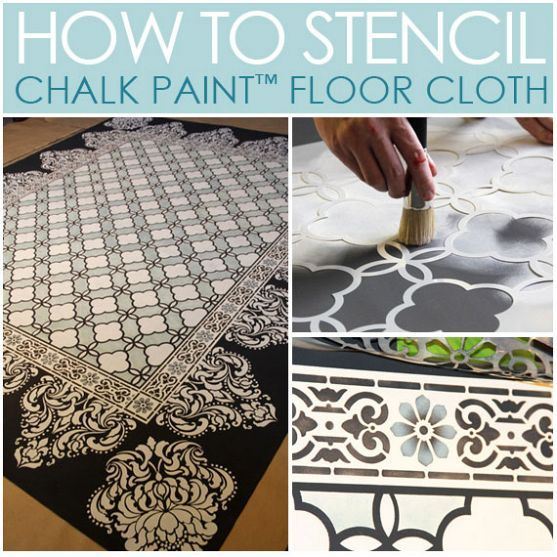 Chalk paintr stenciled floor cloth floors paint and for How to paint a floor cloth