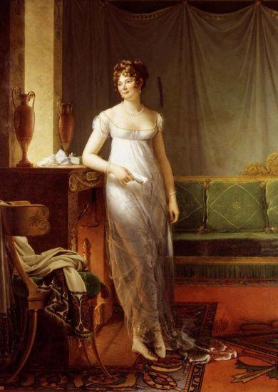 Часто представляемый образ женщины 1800-1805 гг. в облегающих платьям из просвечивающих материалов, под которыми угадывается трико, в действительности относился лишь к некоторым наиболее прогрессивным женщинам, преимущественно в Париже