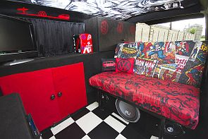 VW T4 Caravelle DIY Camper Interior from a 1992 van. Full feature on this cool looking campervan in Issue 6 of Kombi Life VW Magazine. Read more here: http://vwcampermagazine.com/kombilife/red-hot-chilli-bus-1992-t4-caravelle-uk/