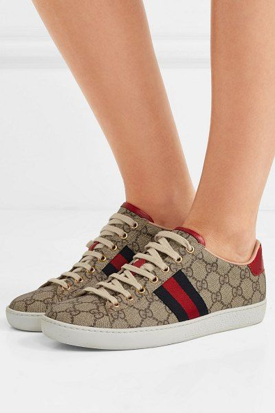 29f1ea788db Gucci ace gg supreme metallic watersnake-trimmed logo-print coated-canvas  sneakers.  gucci  sneakers  activewear