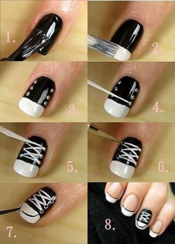 A how to guide for painting a little tennis shoe on your nails. So cute