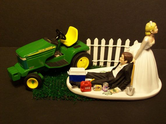 Grass Cutting Bride and Groom W/Diecast John Deere by mikeg1968, $84.99