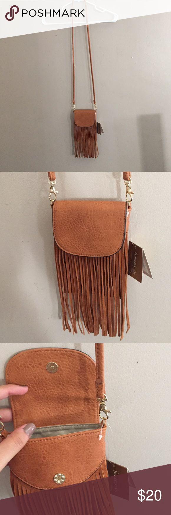 Francesca's Fringe Festival Bag NWT Cute fringe tan leather bag. Very cute Francesca's Collections Bags
