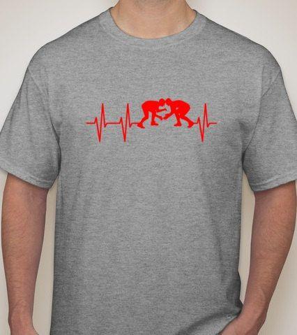 Wrestling Heartbeat shirt Wrestler love by DesignsbyJackelyn