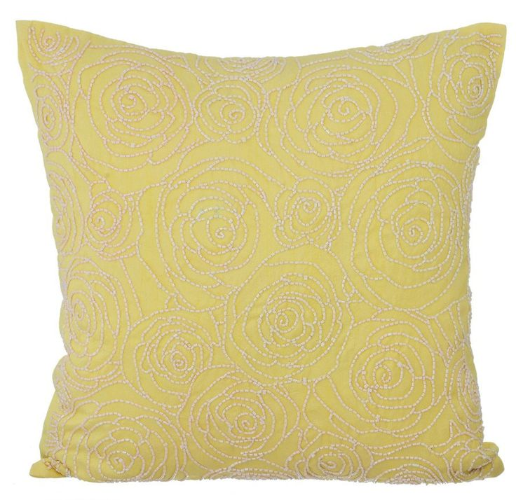 "Luxury Yellow Decorative Pillows Cover, Accent Throw Pillow, 16""x16"" Silk Pillowcase, Square Floral Pattern Pillows Cover - Rosy Yellow by TheHomeCentric on Etsy"