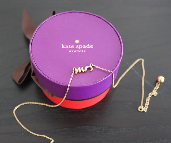 Bought this for my sis-in-law! Sssssh - she doesn't have it yet... | Kate Spade Mrs. necklace.