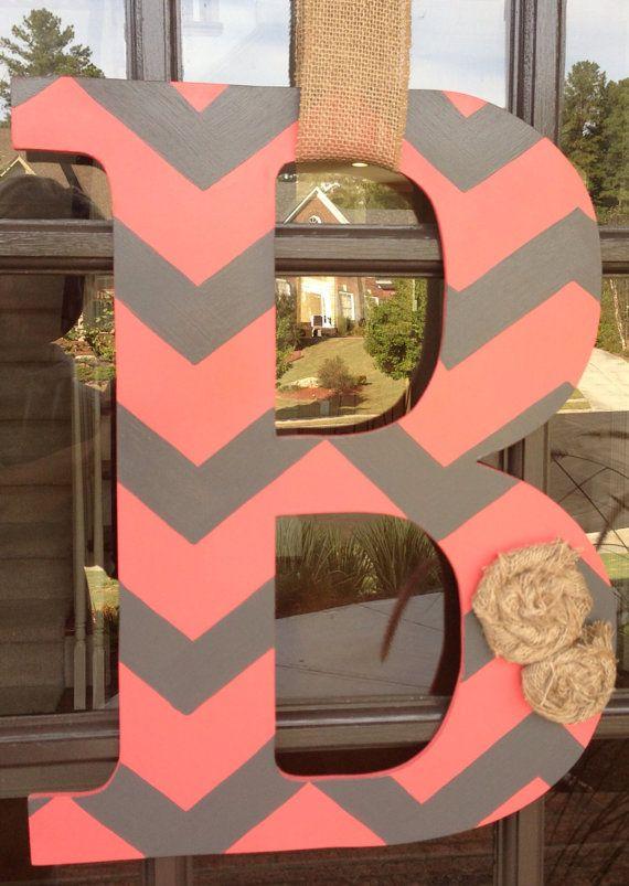 # DOOR HANGER  Etsy listing at http://www.etsy.com/listing/164283587/door-hanger-front-door-initial-wood