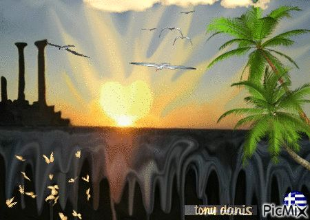 SUN HEART HAPPY SPRING! original backgrounds, painting,digital art by tonydanis GREECE HELLAS fantasy fantasia 3d animation imagination gif peace love
