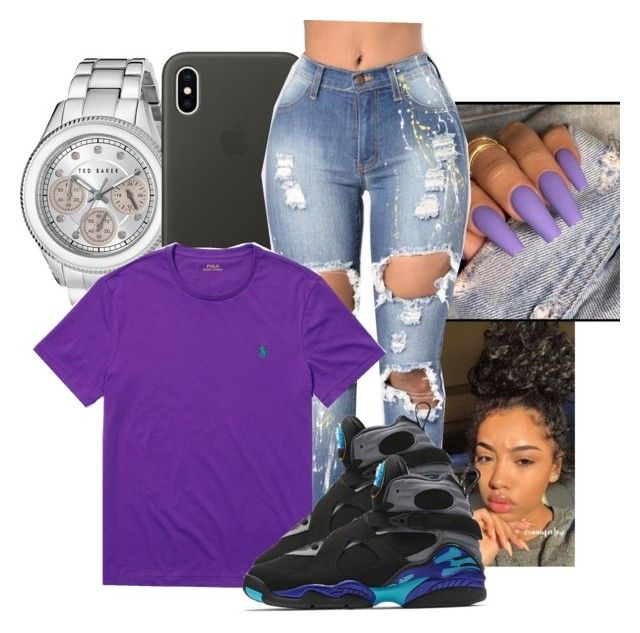 """purple reign."" by jaysational on Polyvore featuring Ted Baker, Apple, Ralph Lauren and NIKE"