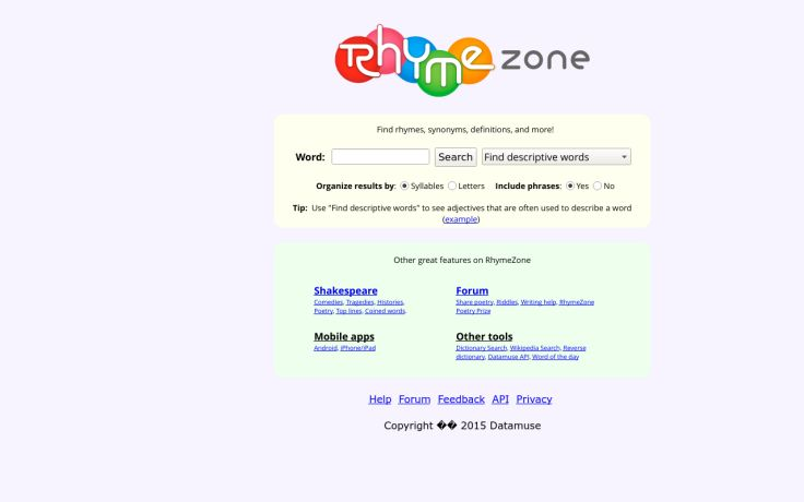 free reference website: RhymeZone rhyming dictionary and thesaurus