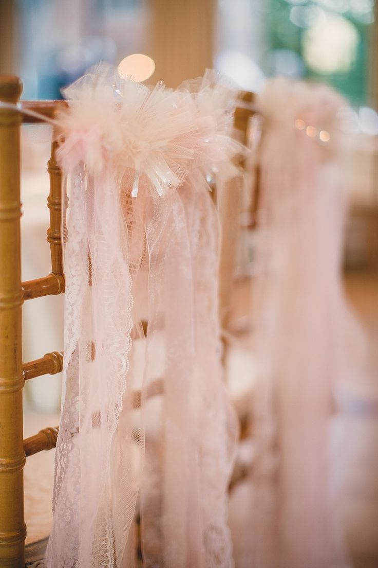Pretty blush pink chair decors with lace